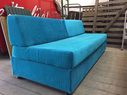 Vintage Retro Blue Fabric Lounge Sofa Couch Storage 181cm Long