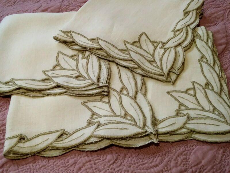 "Set of 4 Madeira Cutwork & Embroidered Linen Napkins 13 3/4""x13"""