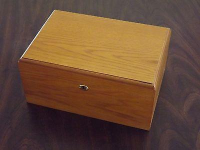 Oak Wood Finish Spanish Cedar 100 Cigar Humidor With Hygrometer Humidifier Tray