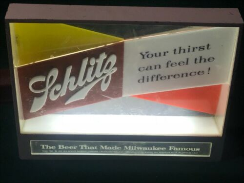 Vintage - Schlitz Beer - RARE Bar Light Sign - 1955 - Works