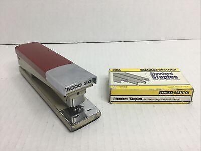 Acco 20 Vintage Red W Chrome 1970s Desk Stapler Bostitch Standard Staples Usa