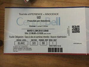 U2 tickets June 5 Montreal
