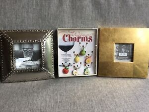 Umbra Avion square nickel or Gilda gold frames and glass charms