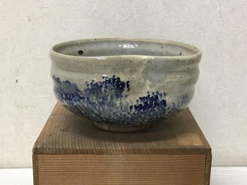 Y2596 CHAWAN Raku-ware signed box confectionery Japan tea ceremony bowl antique