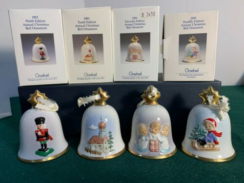 Goebel - Set of Four (4) Christmas Bell Ornaments 1992 - 1995