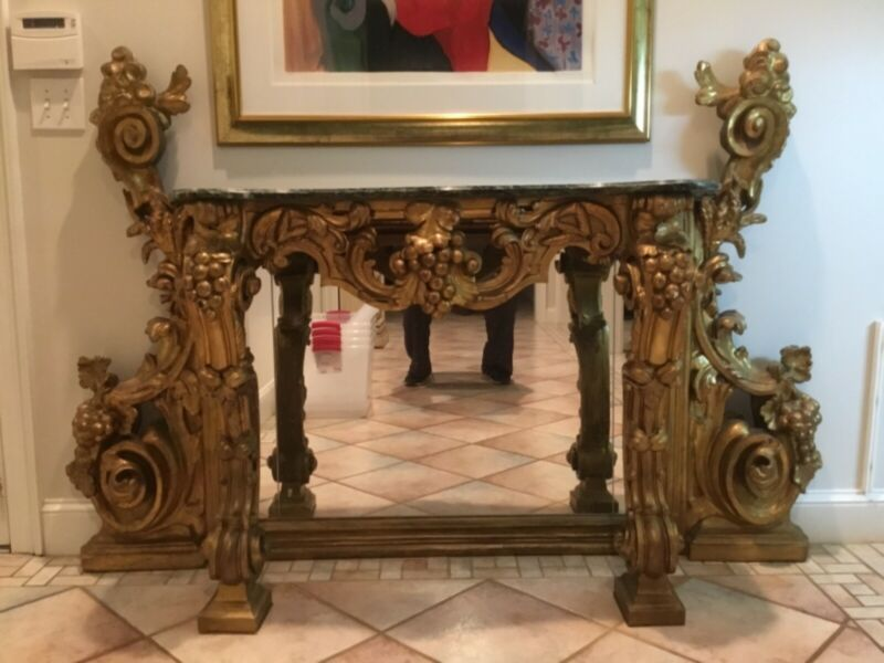 French, Gilded Table with Green Marble Top and Mirror