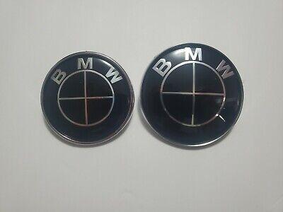 BLACK BMW 82mm 74mm Emblem Logo Badge Front Hood Rear Trunk! USA SELLER! FAST!