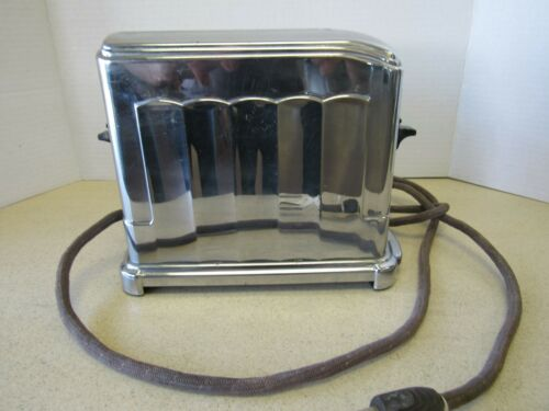 Vintage Chrome McGraw Elgin Toast Master 1 AY Single Slice Toaster