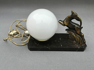ancienne lampe pied en marbre boule opaline cerfs d co vintage french antique ebay. Black Bedroom Furniture Sets. Home Design Ideas