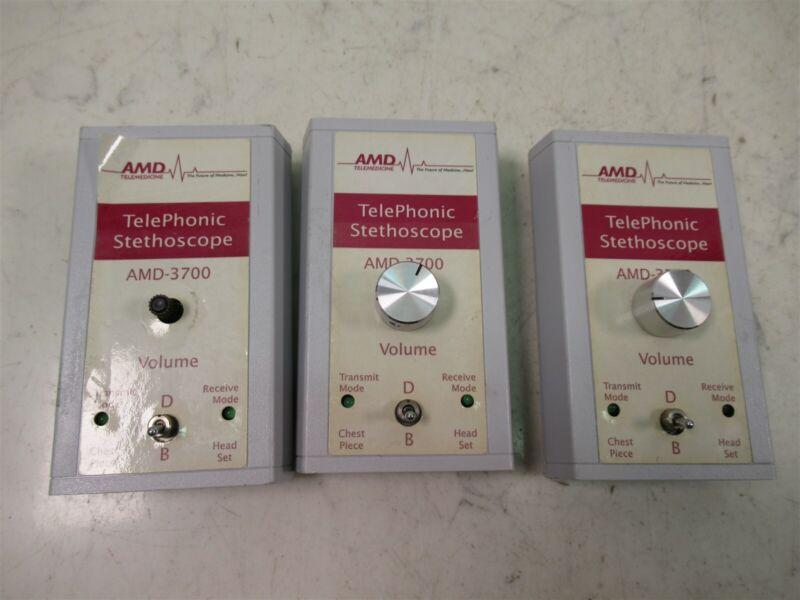 Lot of 3 AMD Telemedicine TelePhonic Stethoscope AMD-3700 Devices