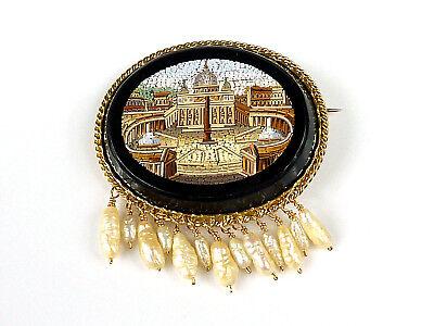 wunderschöne, alte Brosche - Italien um 1870 - Mikromosaik Vatikan - 585er Gold