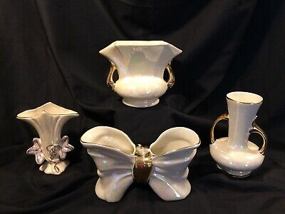 Pearl China Co 22 KT Gold Hand Decorated Beautiful Double Handled Iridescent Vase