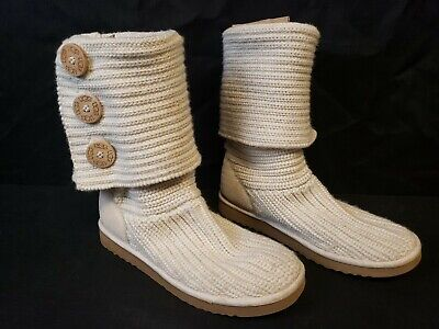 UGG AUSTRALIA 5819 Classic Cardy Sweater Knit Tall Ivory Boots Womens Size 7