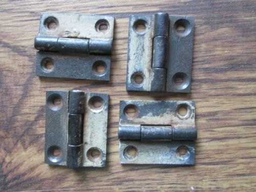 """Pair Small Old Cast Iron Cabinet Door Butt Hinges c 1850s 2 x 1 1/4"""" 2 Available"""