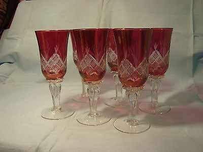 """Vintage Set of 6 Crystal Glasses Ruby Red & Clear Stems 6 1/8"""""""