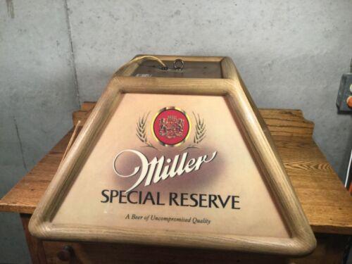 "Miller SPECIAL RESERVE Vintage Pool Table Hanging Light RARE 1983 20"" x 20"""