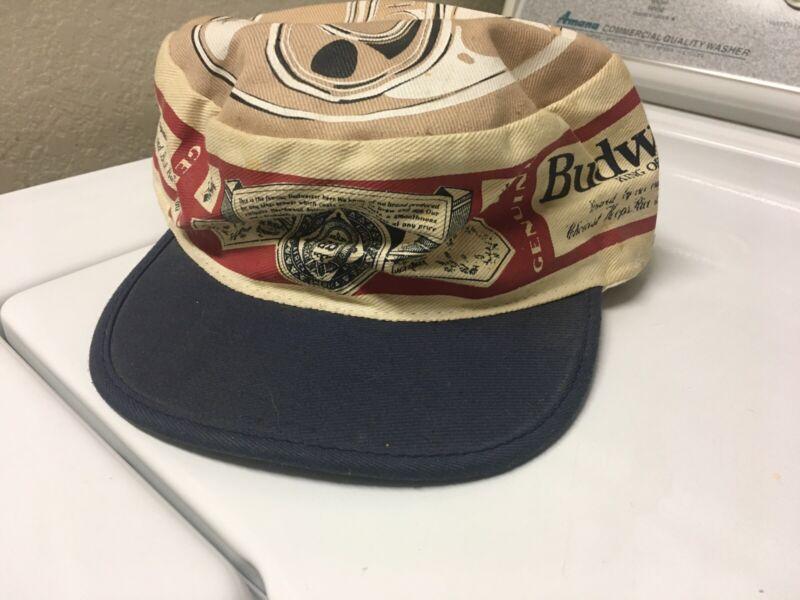 Vintage Budweiser Beer Tan/White Painters Hat Cap