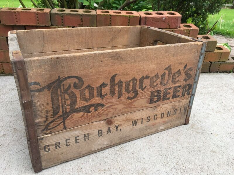 Vintage Wooden Beer Crate Hochgreve's Brewing Green Bay Wisconsin Wood Box