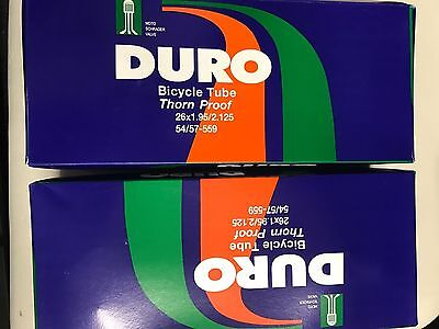 TWO 26x1.95/2.125 Duro Thorn Resistant Bike Inner Tube Schrader Puncture Proof