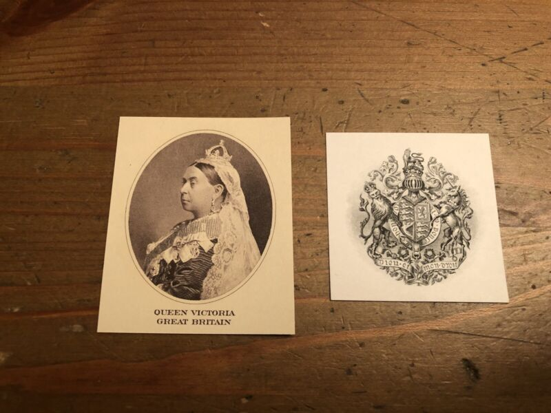 Old American bank note company vignettes lot of 2, Queen Victoria