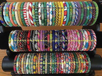 * USA 10 SET Nepal Rolls Glass See Bead Bracelet crochet handmade bangle Random