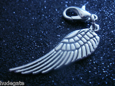 10 Silver Tone Single Angel Wing Clip on Charms for Bracelets Wholesale Job Lot