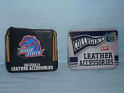 BOISE STATE BRONCOS   embroidered  Leather BiFold Wallet    NIB    black Boise State Broncos Leather