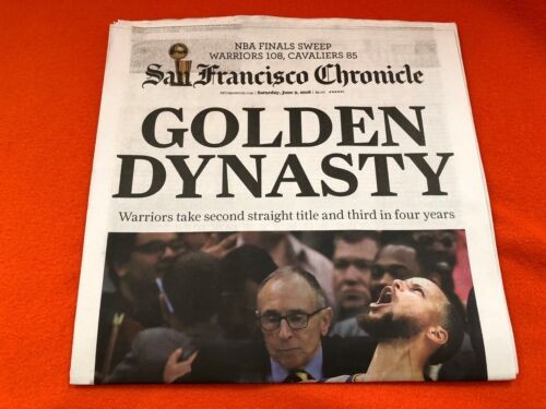 Newspaper Chronicle Golden State Warriors Dynasty Finals Sweep New 6/9/2018
