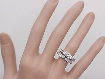 GIA H-VS2 14k white gold princess cut diamond engagement ring and band 2.00ctw 4