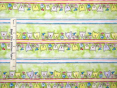 Paw Print Fabric - Happy Catz Green Kitty Cat Stripe Red Rooster #25595 - Yard (Paw Print Stripe)