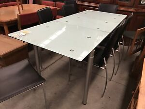 Glass top extendable dining set#4853 North Geelong Geelong City Preview