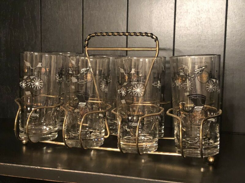 Vintage Libbey Carriage Buggys Highball Glasses. Mid Century Set of 8 with Caddy