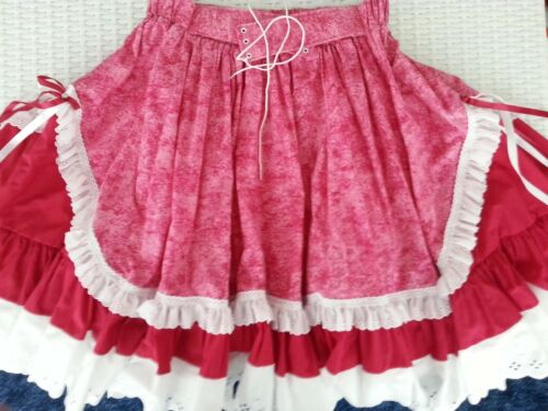 HOT PINK/DEEP RED SQUARE DANCE SKIRT