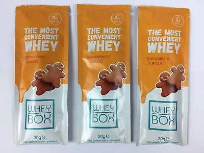 WHEY BOX Gingerbread Flavour High Protein Food Supplement Sachet 3 x