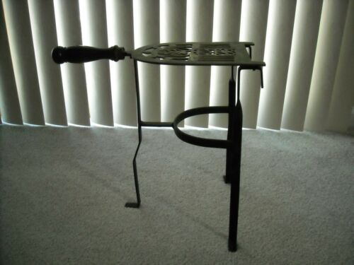 """Vintage Brass & Iron Hearth Fireplace Iron Trivet Stand Wood Handle 13.75"""" Tall"""
