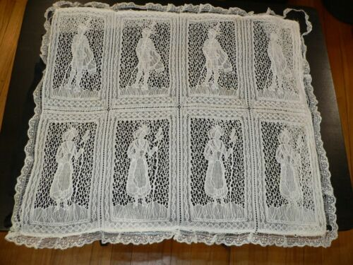 Antique  Figural Lace Pillow Cover