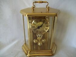 Bulova Quartz Mantle Clock Brass and Glass