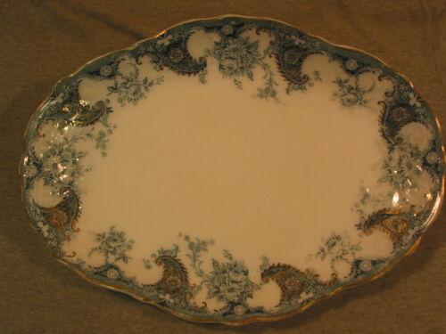 """ANTIQUE Flow Blue Wood & Son Lois 12 1/2"""" Platter Royal Semi-Porcelain 1891-1907"""