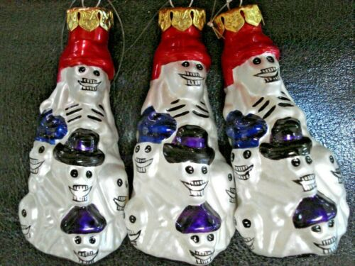 VINTAGE HAND BLOWN & PAINTED POLISH MERCURY GLASS HALLOWEEN Skeletons ORNAMENT 3