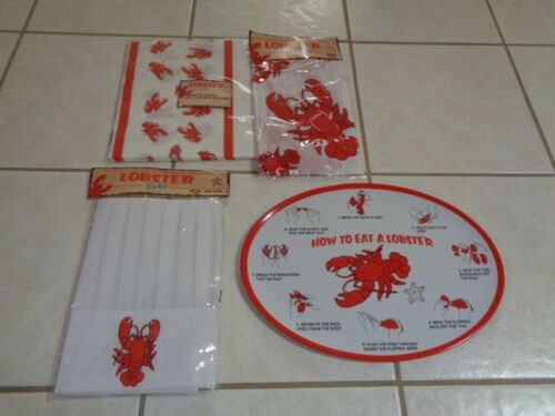 Lobster Seafood Crab Bake Feast Apron Tablecloth Chefs Hat & Platter/Plate
