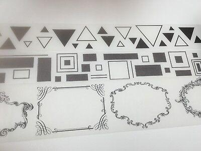 Monochrome Wide Fat Washi Tape Ephemera Blank Frame Triangle Rectangle