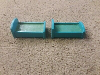 Vintage Fisher Price Little People Hospital Lot  of 2 Blue Beds for #931