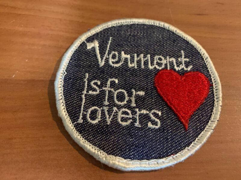 Vintage Vermont is for Lovers Denim Souvenir Patch/Badge