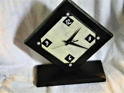 Unique Modern Style Handmade Table Clock from Wood and Paint Quartz