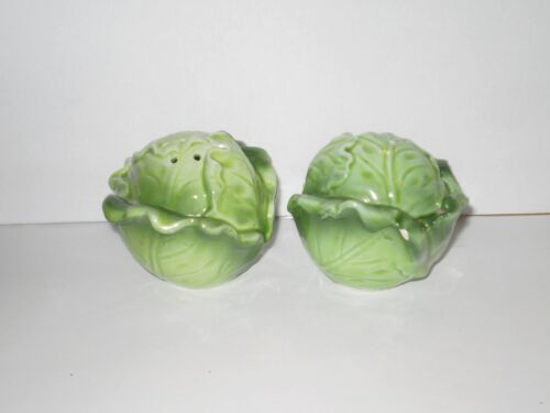 VINTAGE CABBAGE CERAMIC SALT N PEPPER SHAKERS  1970