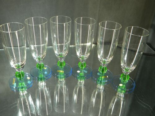 Vintage SET OF 6 Blue/Green Stem Clear Hock Wine Glasses Made in Hungary