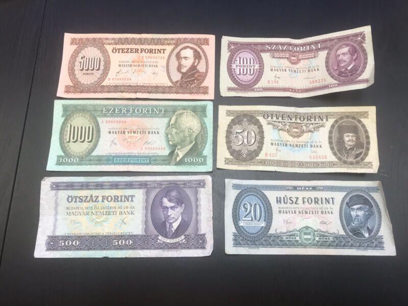World Currency Set Of Six (6) Individual Hungarian Forint Banknotes, Circulated
