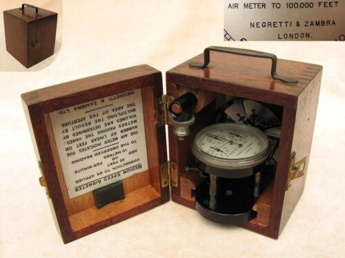Negretti & Zambra, London medium speed Air Meter in mahogany case