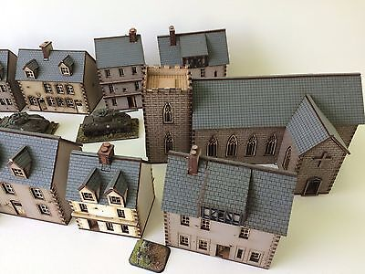 Set of 11  x 15mm Normandy houses MDF painted kits