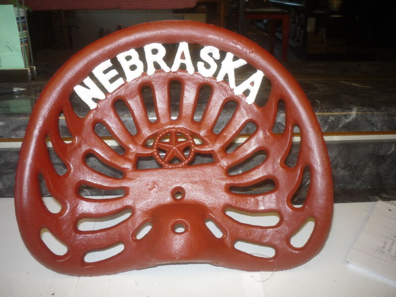 FARM BAR STOOL TRACTOR SEAT   NEBRASKA   CORNHUSKER  RED